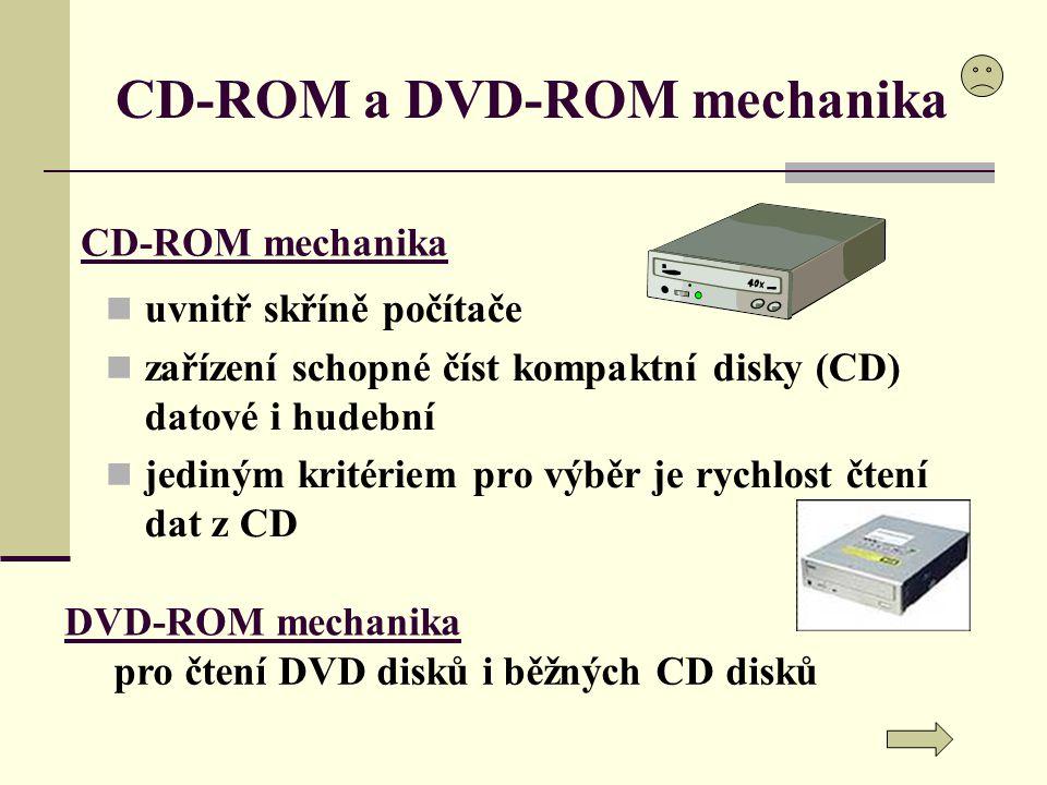 CD-ROM a DVD-ROM mechanika uvnitř skříně počítače zařízení schopné číst kompaktní disky (CD) datové i hudební jediným kritériem pro výběr je rychlost