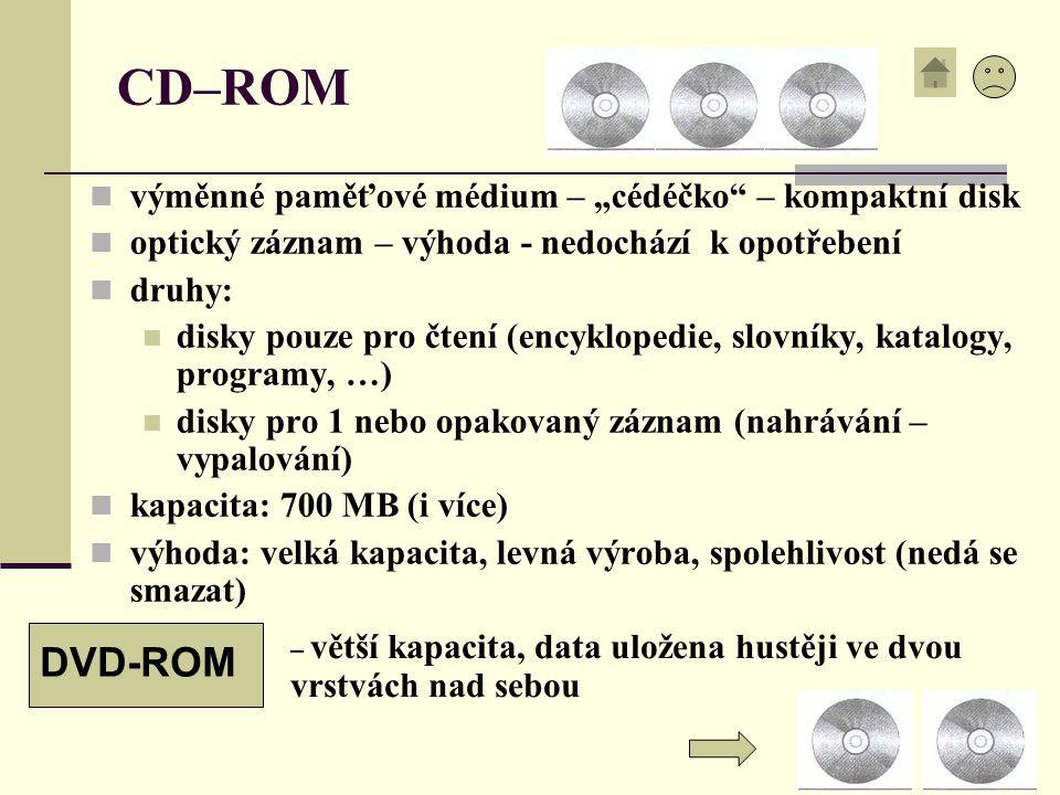 """CD–ROM výměnné paměťové médium – """"cédéčko"""" – kompaktní disk optický záznam – výhoda - nedochází k opotřebení druhy: disky pouze pro čtení (encyklopedi"""