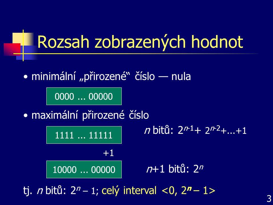 Celá čísla nezáporná čísla se zobrazují stejně pro záporná čísla musí být zvoleny určité kladné obrazy interval hodnot zobrazitelných na určitém prostoru se rozdělí na poloviny horní polovina je věnována záporným číslům existují různé možnosti přiřazení čísel obrazům