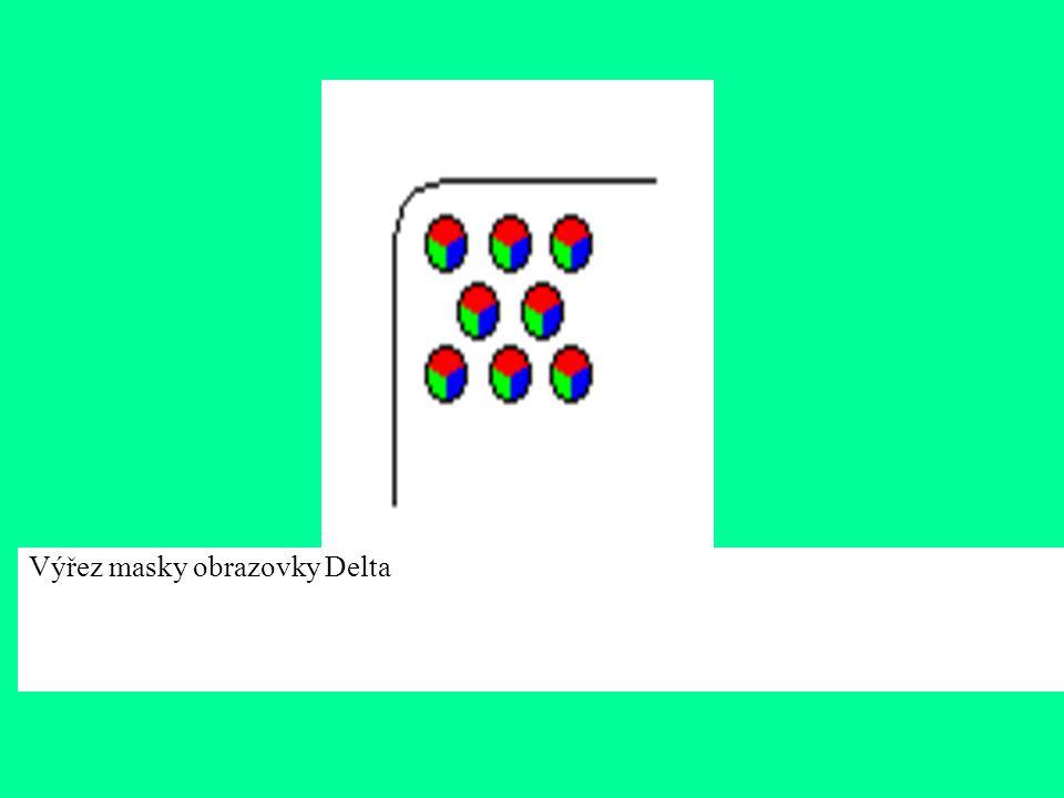 Obrazovky Delta Jednotlivé otvory v masce jsou kruhové a jsou uspořádány do trojúhelníků (velké písmeno delta). Stejným způsobem jsou uspořádány i lum