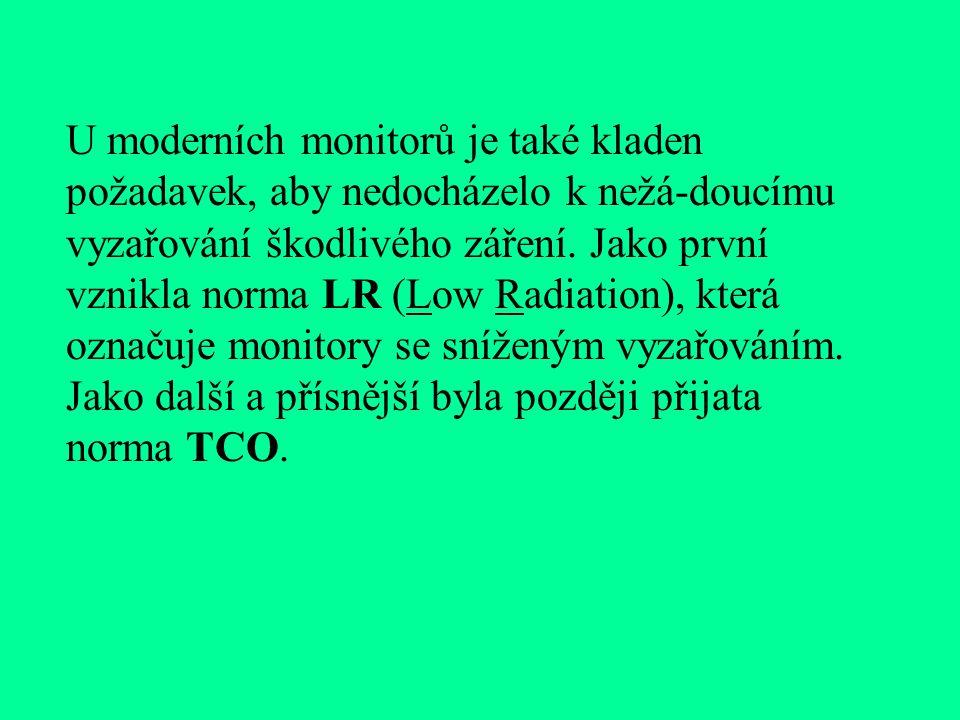 """Vzhledem k tomu, že monitor má při své práci poměrně vysoký příkon (u 17"""" monitoru asi 125 W), bývají monitory vybaveny funkcí green, která dovoluje p"""