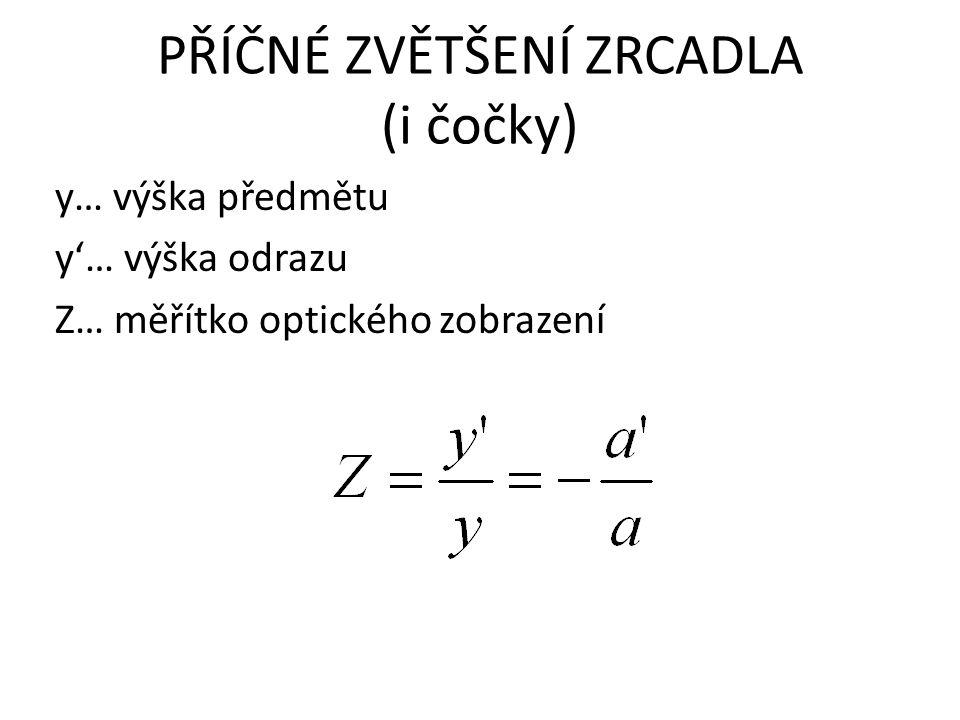 PŘÍČNÉ ZVĚTŠENÍ ZRCADLA (i čočky) y… výška předmětu y'… výška odrazu Z… měřítko optického zobrazení