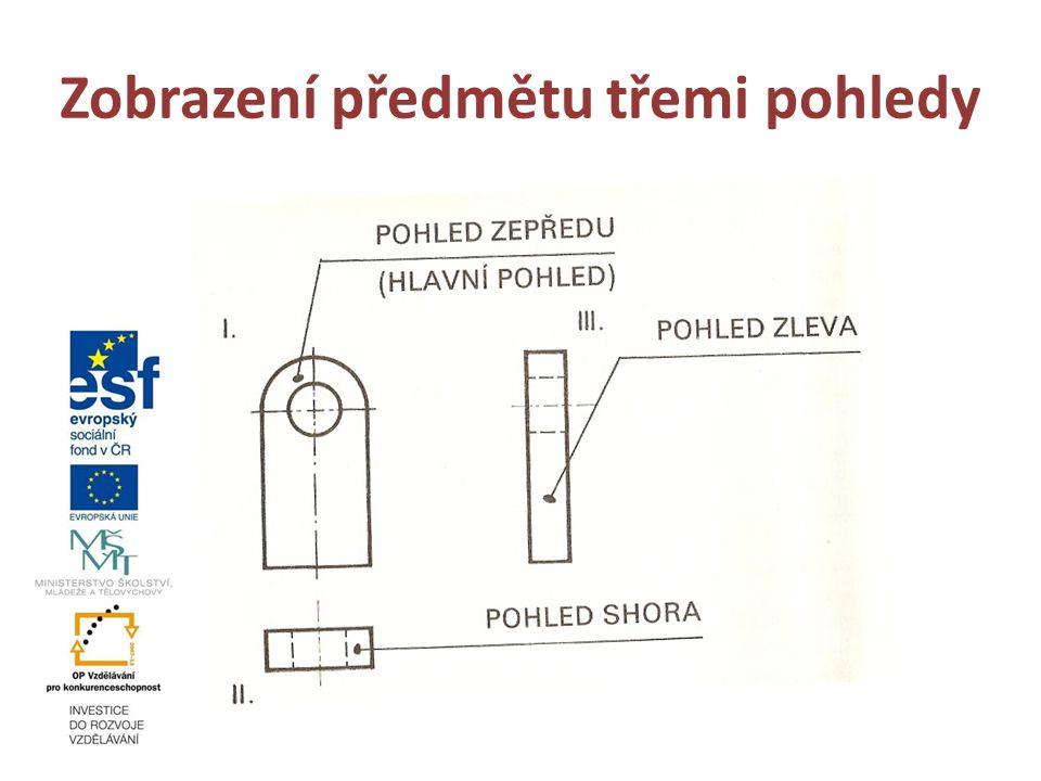 Zobrazení předmětu třemi pohledy