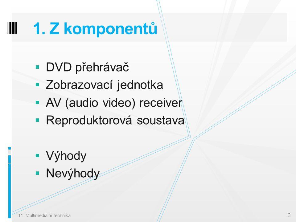 1. Z komponentů  DVD přehrávač  Zobrazovací jednotka  AV (audio video) receiver  Reproduktorová soustava  Výhody  Nevýhody 11. Multimediální tec