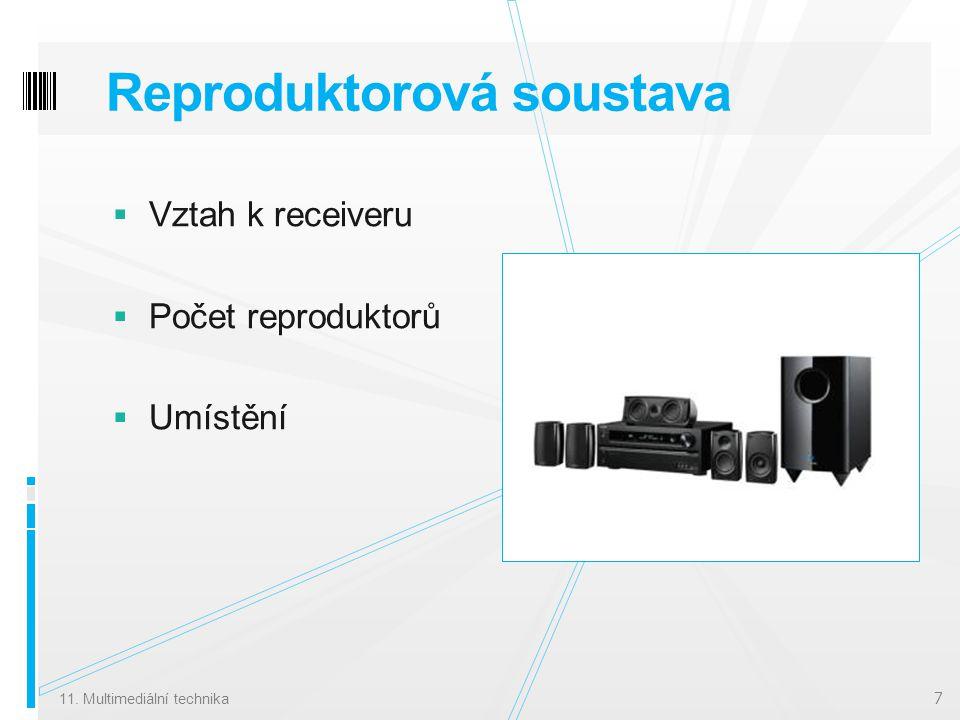 Reproduktorová soustava  Vztah k receiveru  Počet reproduktorů  Umístění 11.