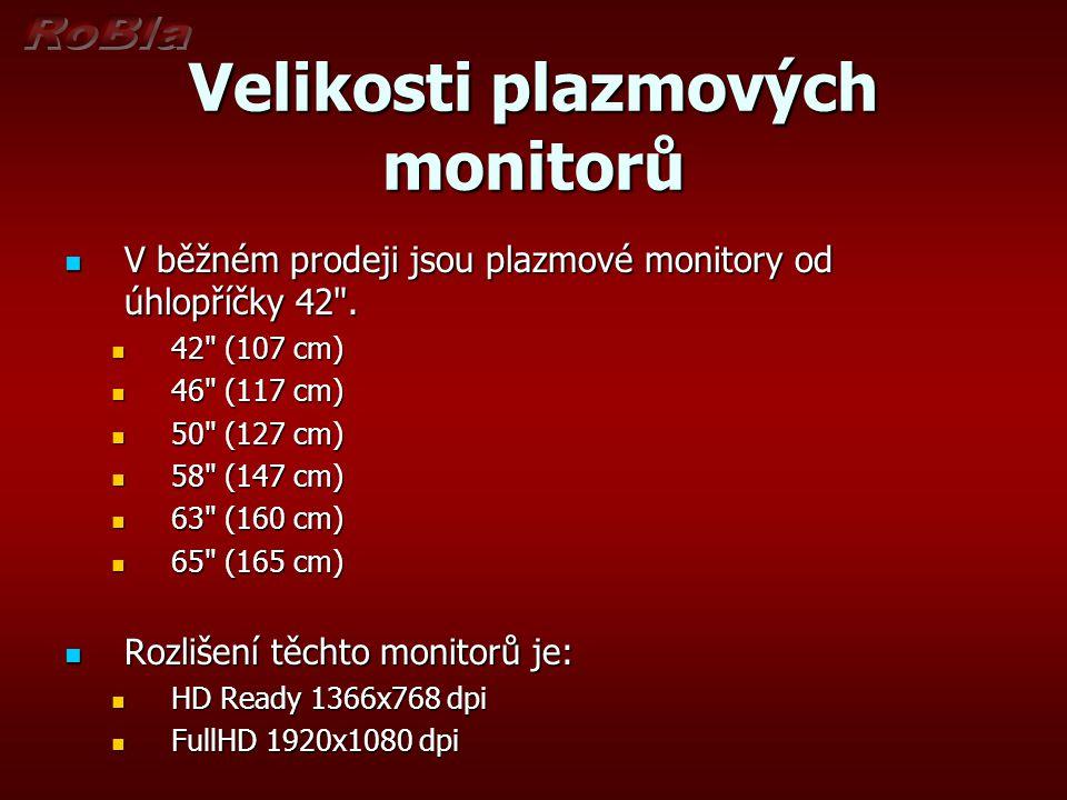 Velikosti plazmových monitorů V běžném prodeji jsou plazmové monitory od úhlopříčky 42
