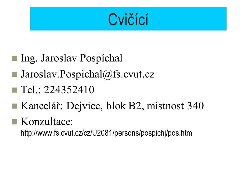 Cvičící Ing. Jaroslav Pospíchal Jaroslav.Pospichal@fs.cvut.cz Tel.: 224352410 Kancelář: Dejvice, blok B2, místnost 340 Konzultace: http://www.fs.cvut.