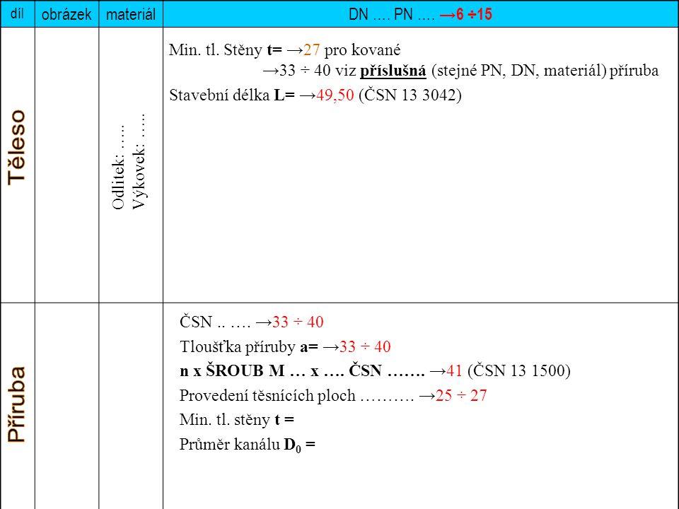 díl obrázekmateriál DN …. PN …. →6 ÷15 Min. tl. Stěny t= →27 pro kované →33 ÷ 40 viz příslušná (stejné PN, DN, materiál) příruba Stavební délka L= →49