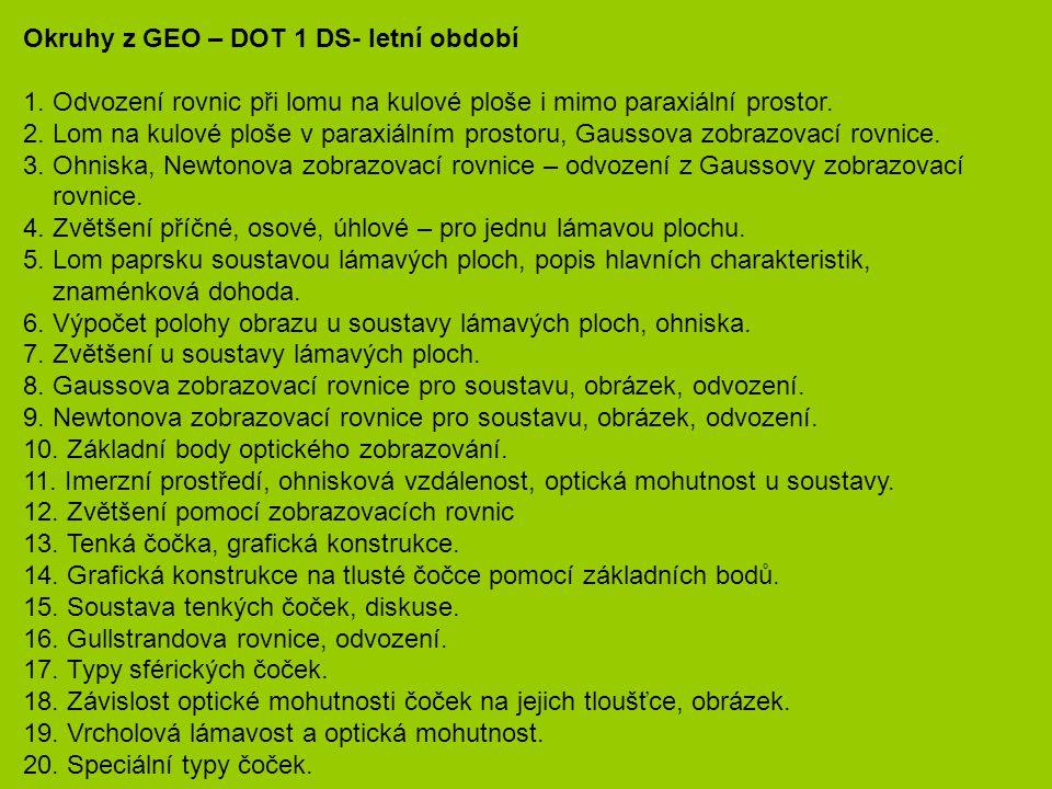 Okruhy z GEO – DOT 1 DS- letní období 1.
