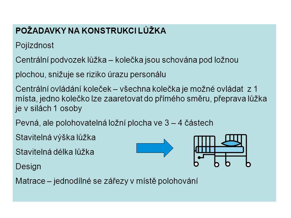 POŽADAVKY NA KONSTRUKCI LŮŽKA Pojízdnost Centrální podvozek lůžka – kolečka jsou schována pod ložnou plochou, snižuje se riziko úrazu personálu Centrá
