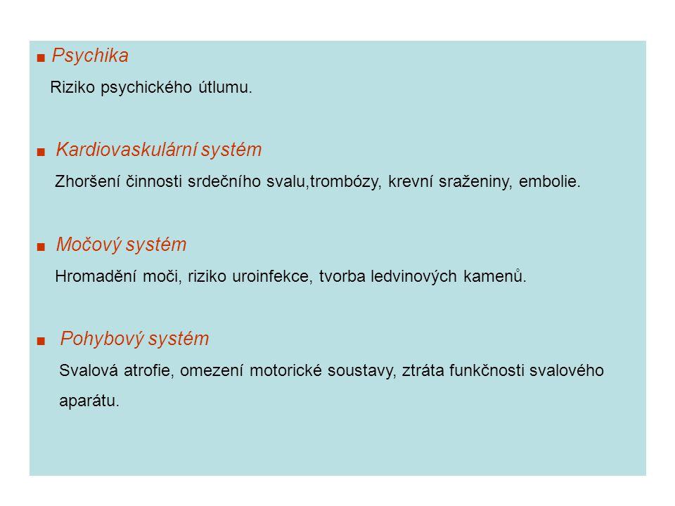 ■ Psychika Riziko psychického útlumu. ■ Kardiovaskulární systém Zhoršení činnosti srdečního svalu,trombózy, krevní sraženiny, embolie. ■ Močový systém