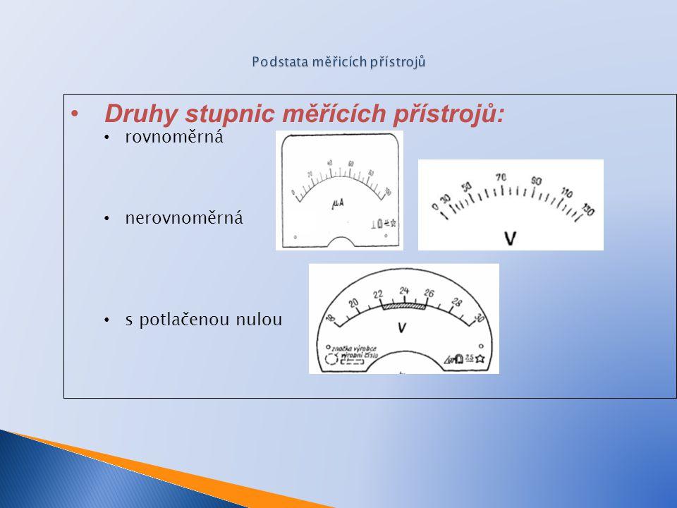 Druhy stupnic měřících přístrojů: rovnoměrná nerovnoměrná s potlačenou nulou