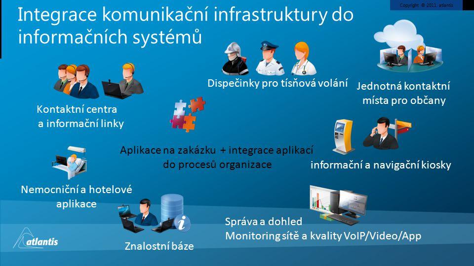 Copyright © 2011, atlantis Integrace komunikační infrastruktury do informačních systémů Dispečinky pro tísňová volání Kontaktní centra a informační linky Jednotná kontaktní místa pro občany informační a navigační kiosky Nemocniční a hotelové aplikace Znalostní báze Aplikace na zakázku + integrace aplikací do procesů organizace Správa a dohled Monitoring sítě a kvality VoIP/Video/App
