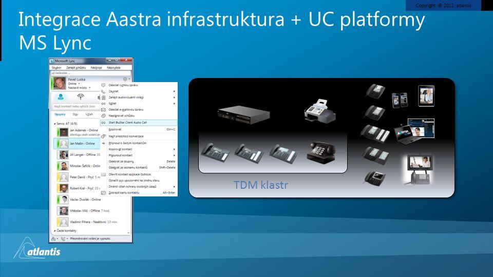 Copyright © 2011, atlantis Integrace Aastra infrastruktura + UC platformy MS Lync TDM klastr