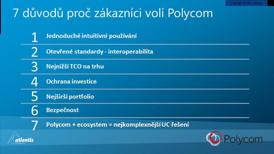 Copyright © 2011, atlantis 7 důvodů proč zákazníci volí Polycom Otevřené standardy - interoperabilita Jednoduché intuitivní používání Nejnižší TCO na trhu Ochrana investice Nejširší portfolio Bezpečnost Polycom + ecosystem = nejkomplexnější UC řešení 2 1 3 4 6 7 5