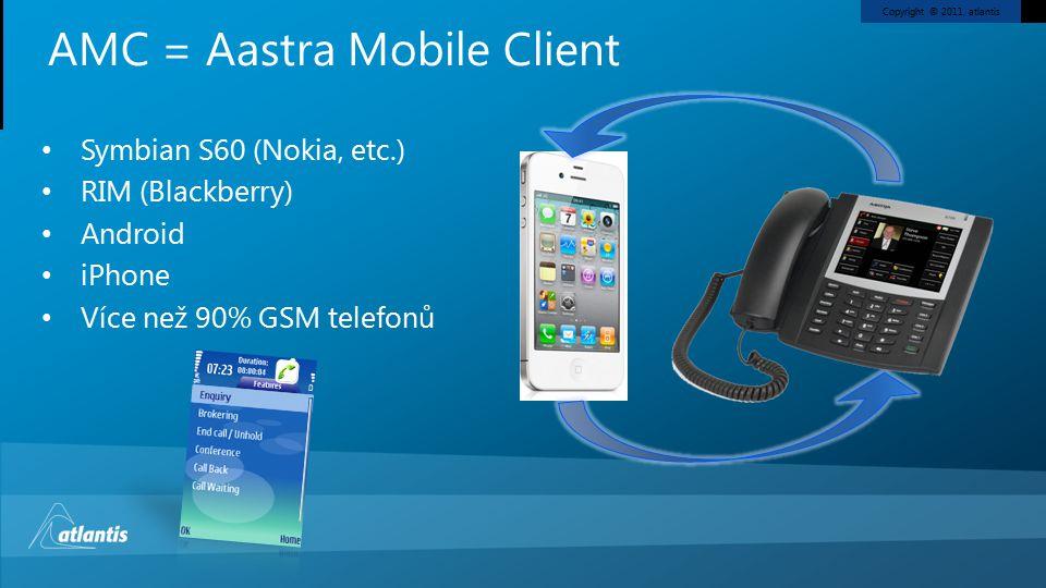 Copyright © 2011, atlantis Symbian S60 (Nokia, etc.) RIM (Blackberry) Android iPhone Více než 90% GSM telefonů AMC = Aastra Mobile Client