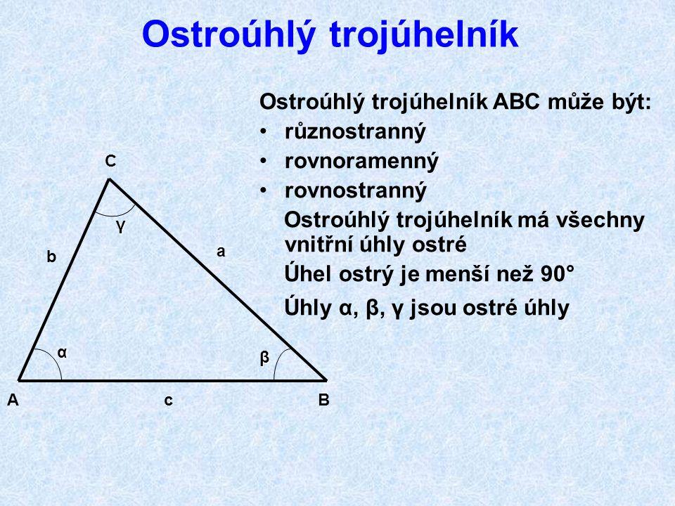 Trojúhelníky dělíme podle velikosti stran nebo velikosti úhlů Dělení podle stran: 1. Trojúhelník různostranný (obecný) 2. Trojúhelník rovnoramenný 3.