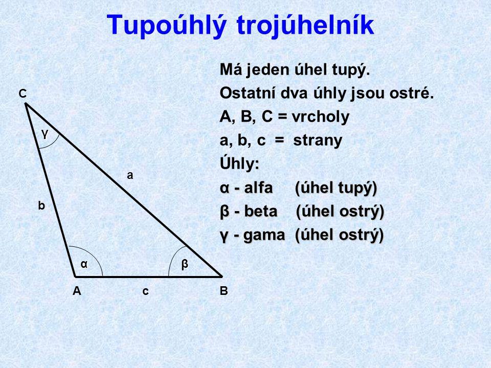 Ostroúhlý trojúhelník Ostroúhlý trojúhelník ABC může být: různostranný rovnoramenný rovnostranný Ostroúhlý trojúhelník má všechny vnitřní úhly ostré Ú
