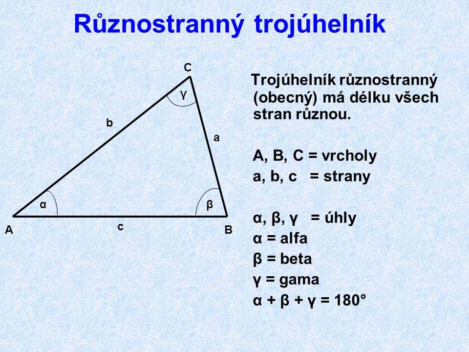 OPAKOVÁNÍ I. Kolik vrcholů má trojúhelník? Kolik stran má trojúhelník? Kolik úhlů má trojúhelník? Trojúhelníky dělíme podle velikosti úhlů: ostroúhlý,