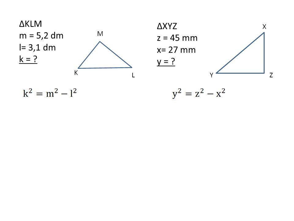 Úkoly Dopočítej velikost zbývající strany v pravoúhlém trojúhelníku.