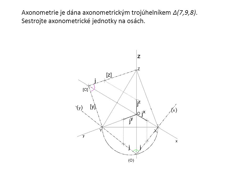 Axonometrie je dána axonometrickým trojúhelníkem Δ(7,9,8). Sestrojte axonometrické jednotky na osách.