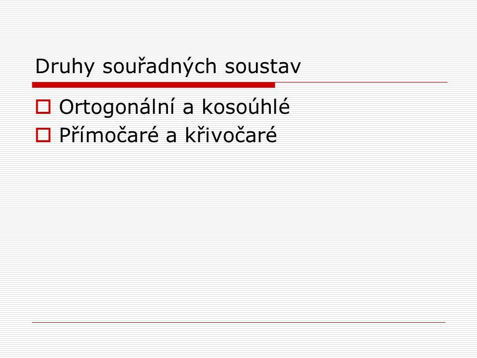 Druhy souřadných soustav  Ortogonální a kosoúhlé  Přímočaré a křivočaré