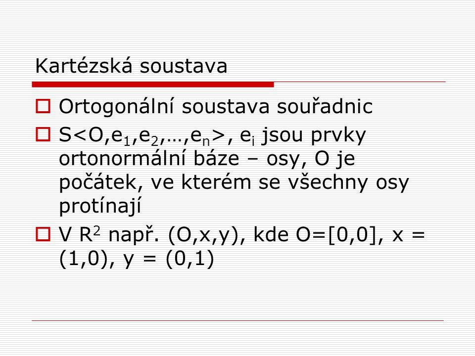 Kartézská soustava  Ortogonální soustava souřadnic  S, e i jsou prvky ortonormální báze – osy, O je počátek, ve kterém se všechny osy protínají  V R 2 např.