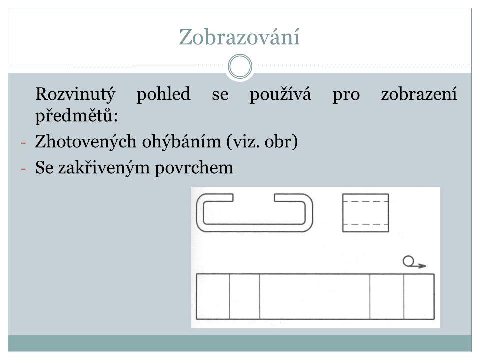 Zobrazování Rozvinutý pohled se používá pro zobrazení předmětů: - Zhotovených ohýbáním (viz.