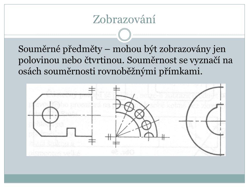 Zobrazování Souměrné předměty – mohou být zobrazovány jen polovinou nebo čtvrtinou.