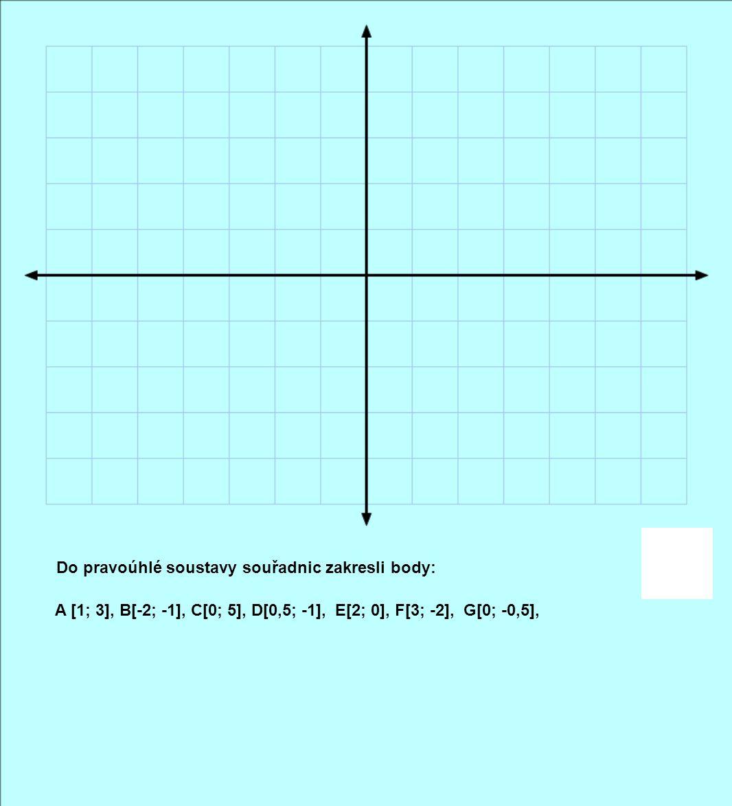 Do pravoúhlé soustavy souřadnic zakresli body: A [1; 3], B[-2; -1], C[0; 5], D[0,5; -1], E[2; 0], F[3; -2], G[0; -0,5],