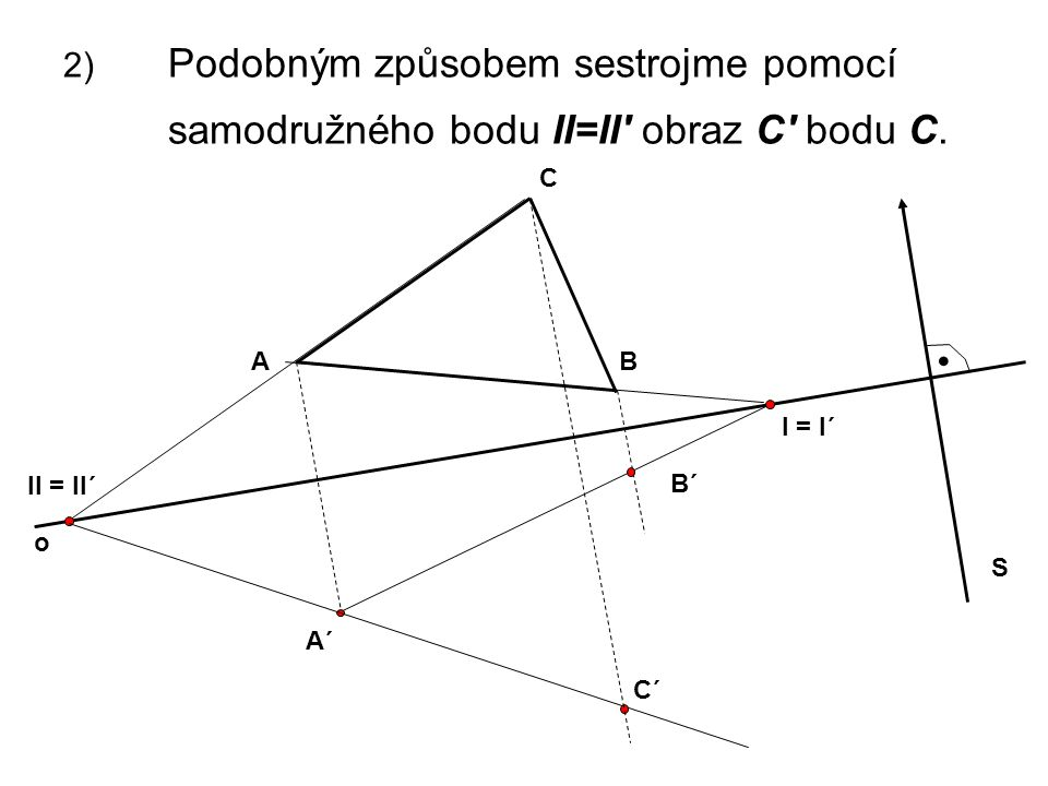 2) Podobným způsobem sestrojme pomocí samodružného bodu II=II' obraz C' bodu C. C II = II´ o AB S. A´ B´ I = I´ C´