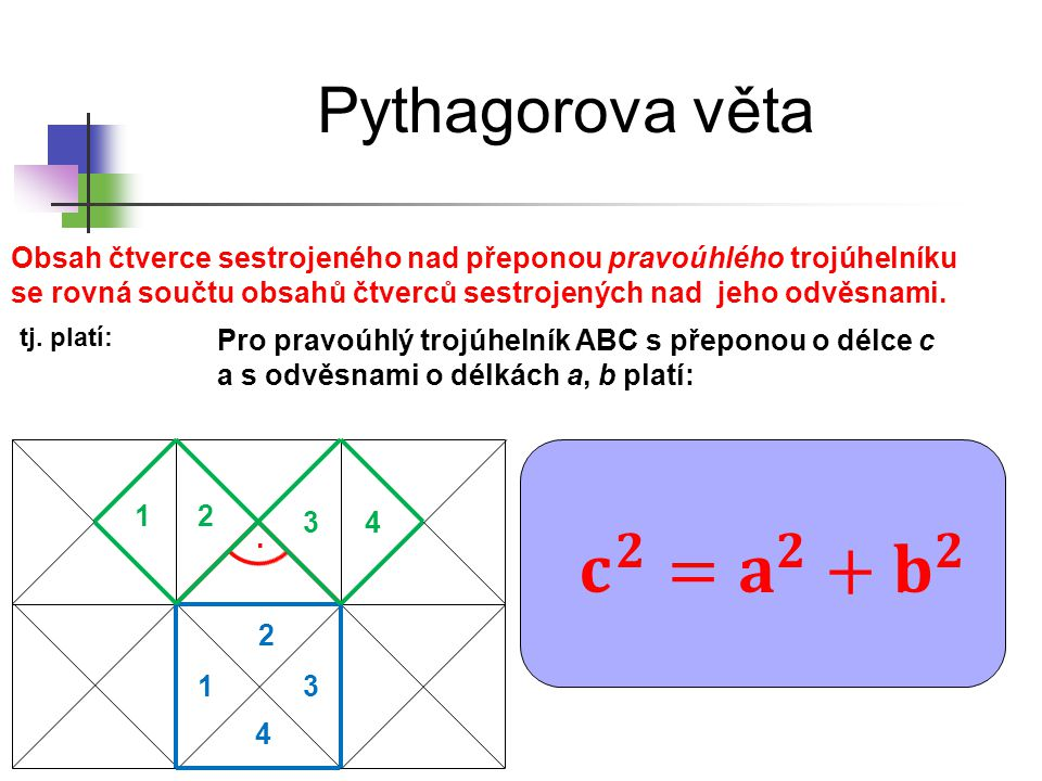 Pythagorova věta. 1 2 3 4 12 34 Obsah čtverce sestrojeného nad přeponou pravoúhlého trojúhelníku se rovná součtu obsahů čtverců sestrojených nad jeho