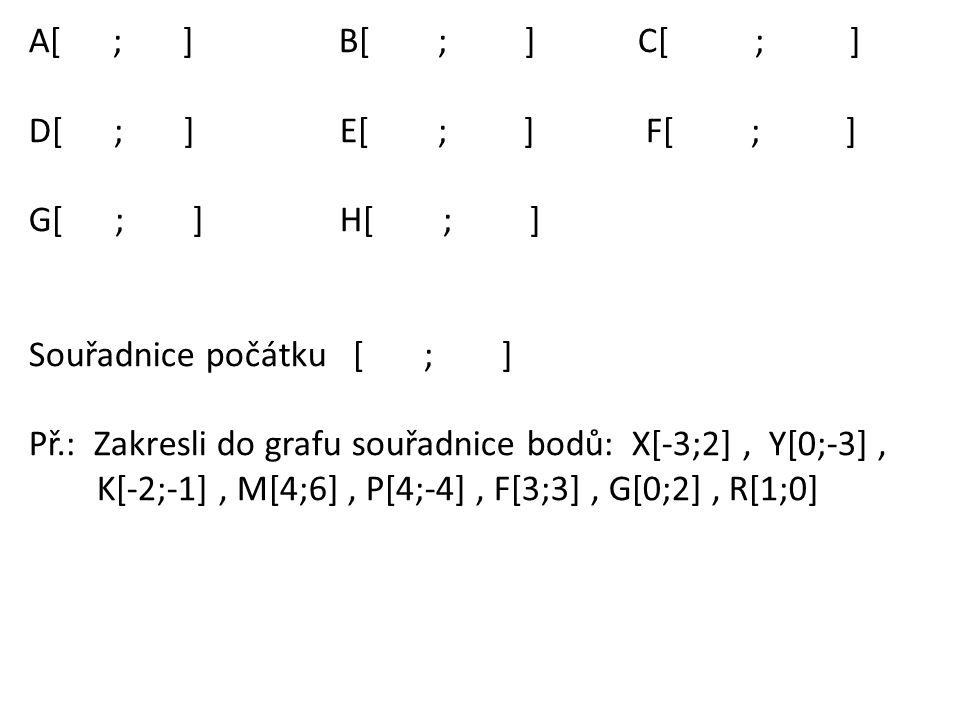 A[ ; ] B[ ; ] C[ ; ] D[ ; ] E[ ; ] F[ ; ] G[ ; ] H[ ; ] Souřadnice počátku [ ; ] Př.: Zakresli do grafu souřadnice bodů: X[-3;2], Y[0;-3], K[-2;-1], M