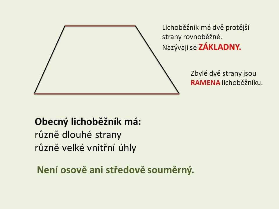 Lichoběžník má dvě protější strany rovnoběžné. Nazývají se ZÁKLADNY.