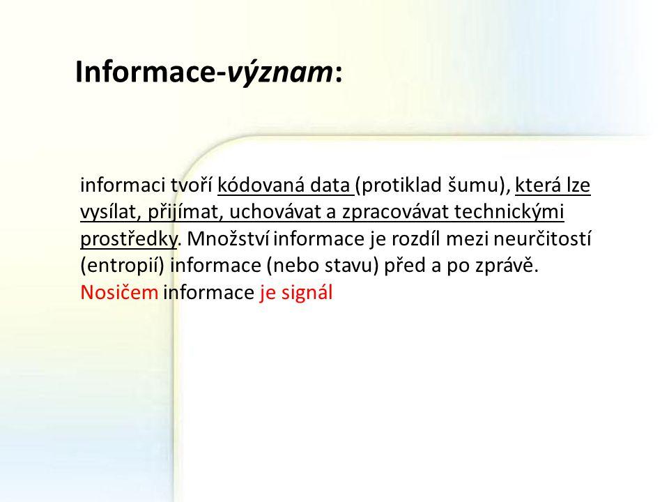 """Přenos informace: ☻ Základním modelem pro přenos informace je soustava vysílač (kodér) –> kanál –> přijímač (dekodér ) Zpracování informací ☻ analogový přenos-přeměna hlasu nebo obrazu na elektrický signál ☻ Slovo """"informace se zde však používá v několika rovinách: text, který právě píši, kóduji do písmen, ta se v počítači převádějí na binární kódy (ASCII, UNICODE) a přenášejí mezi počítači v určitých formátech, ale nakonec jako posloupnosti elektrických signálůASCIIUNICODE metainformace ☻ Informace, která je v transformačním vztahu k jiné informaci."""