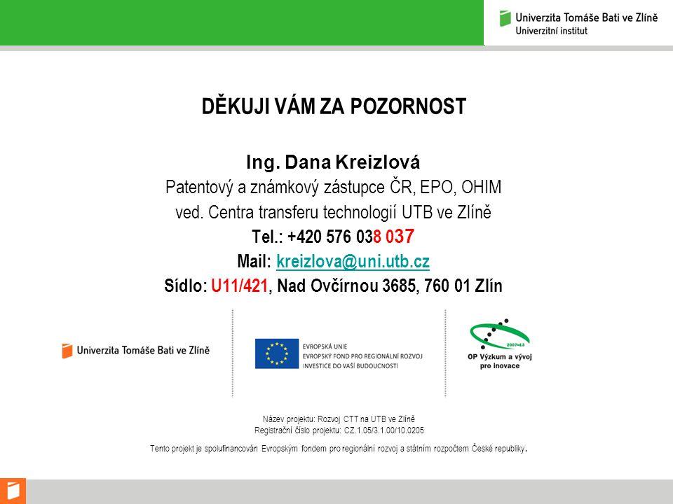 DĚKUJI VÁM ZA POZORNOST Ing. Dana Kreizlová Patentový a známkový zástupce ČR, EPO, OHIM ved.