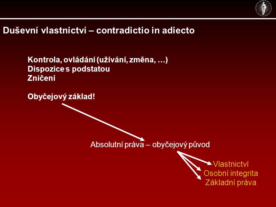 Duševní vlastnictví – contradictio in adiecto Kontrola, ovládání (užívání, změna, …) Dispozice s podstatou Zničení Obyčejový základ.