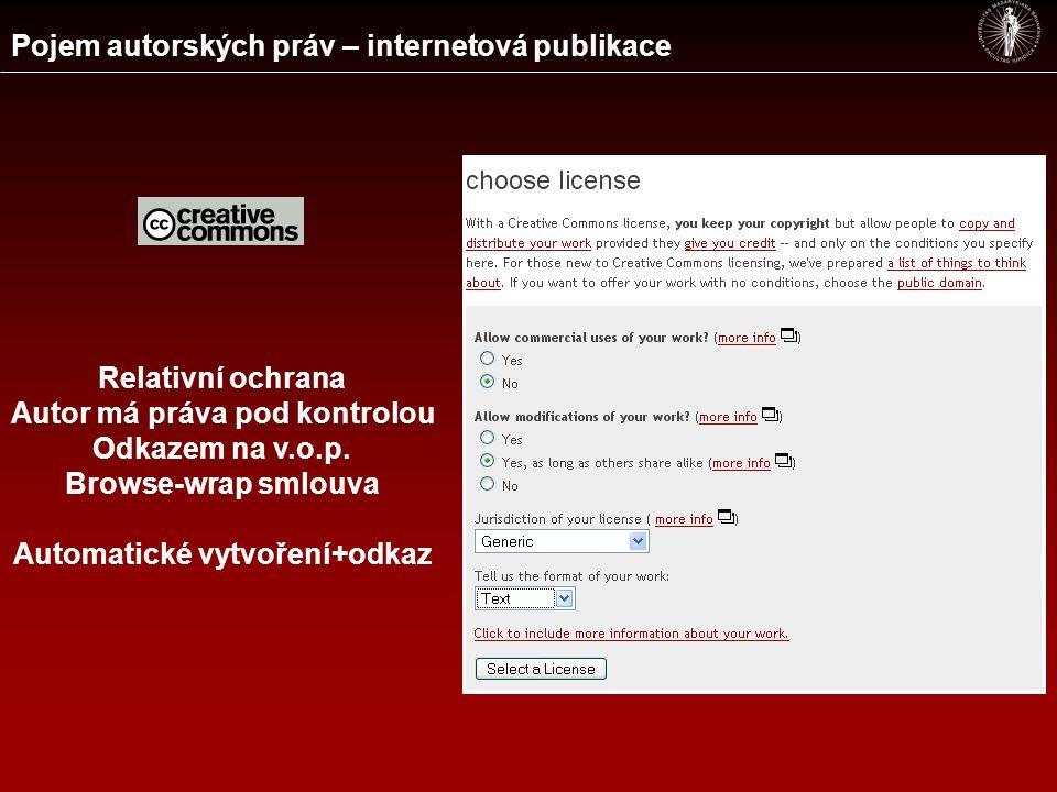 Pojem autorských práv – internetová publikace Relativní ochrana Autor má práva pod kontrolou Odkazem na v.o.p.