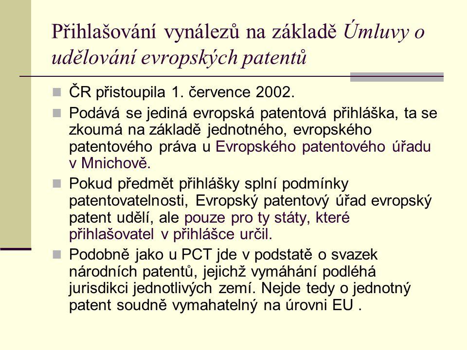 Přihlašování vynálezů na základě Úmluvy o udělování evropských patentů ČR přistoupila 1. července 2002. Podává se jediná evropská patentová přihláška,
