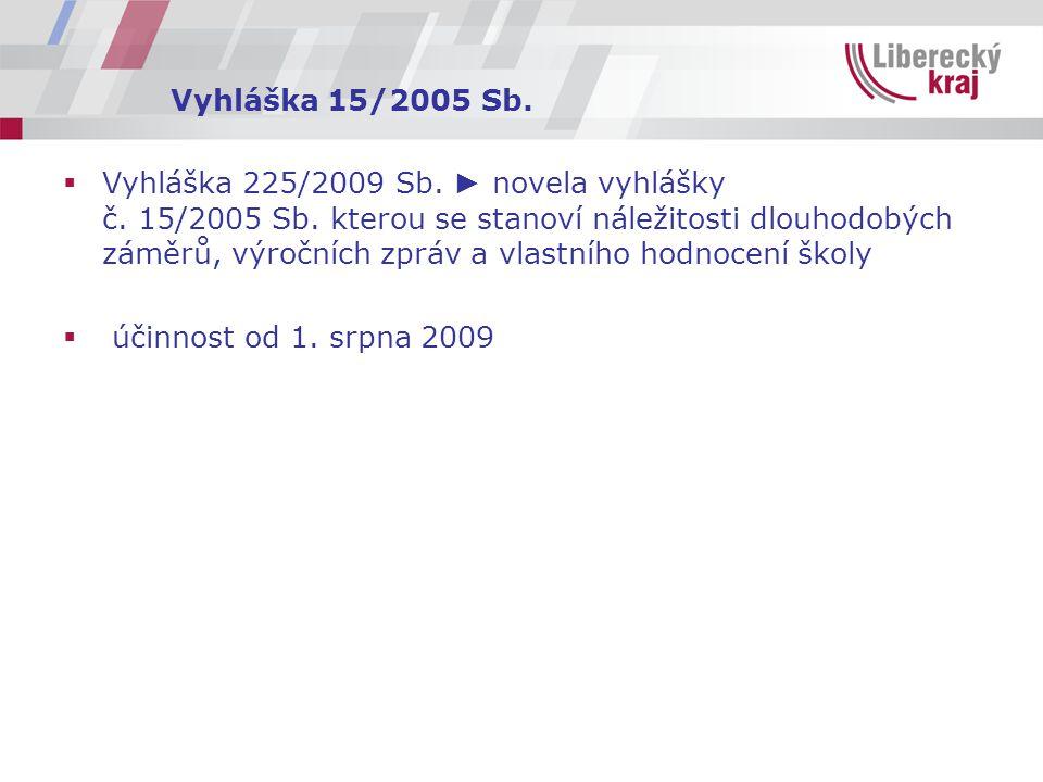 Vyhláška 15/2005 Sb.  Vyhláška 225/2009 Sb. ► novela vyhlášky č.