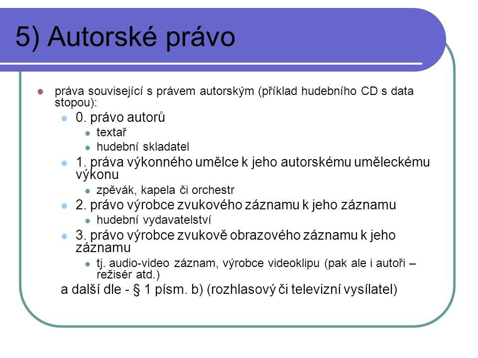 5) Autorské právo práva související s právem autorským (příklad hudebního CD s data stopou): 0. právo autorů textař hudební skladatel 1. práva výkonné