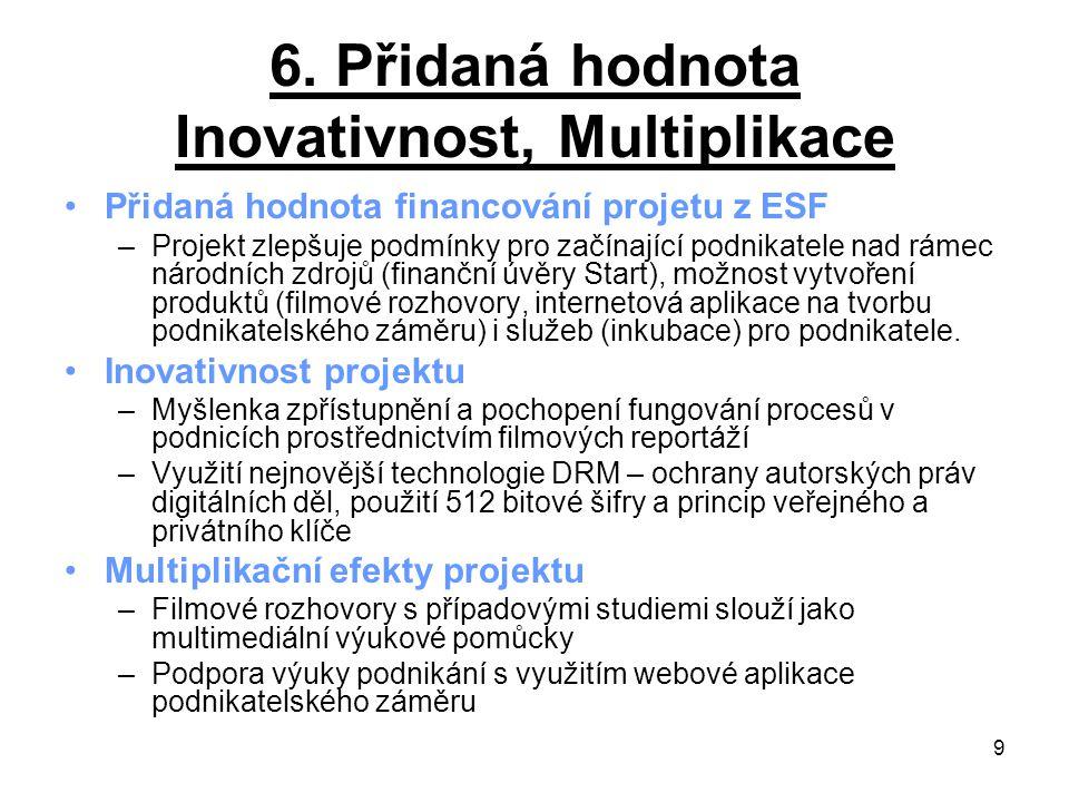 9 6. Přidaná hodnota Inovativnost, Multiplikace Přidaná hodnota financování projetu z ESF –Projekt zlepšuje podmínky pro začínající podnikatele nad rá