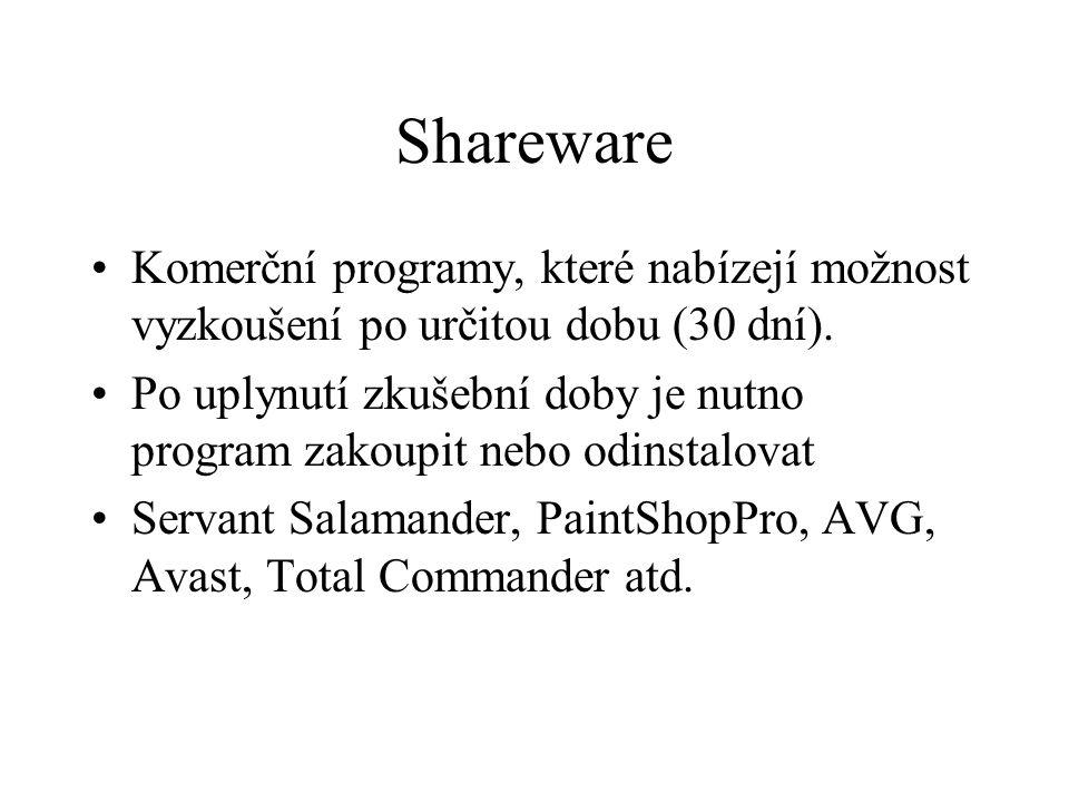 Shareware Komerční programy, které nabízejí možnost vyzkoušení po určitou dobu (30 dní). Po uplynutí zkušební doby je nutno program zakoupit nebo odin