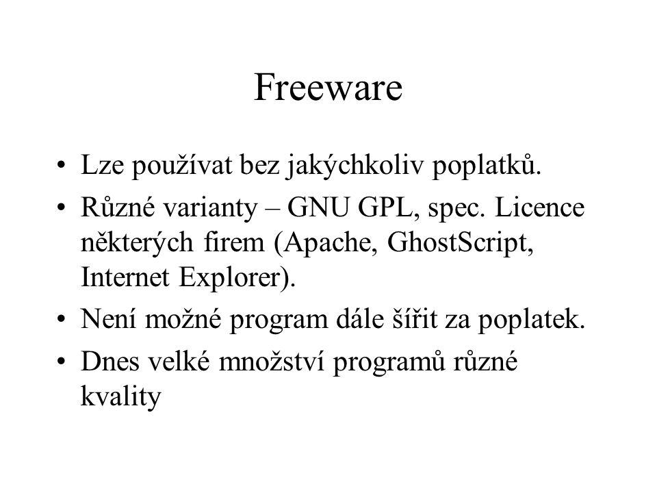 Freeware Lze používat bez jakýchkoliv poplatků. Různé varianty – GNU GPL, spec. Licence některých firem (Apache, GhostScript, Internet Explorer). Není