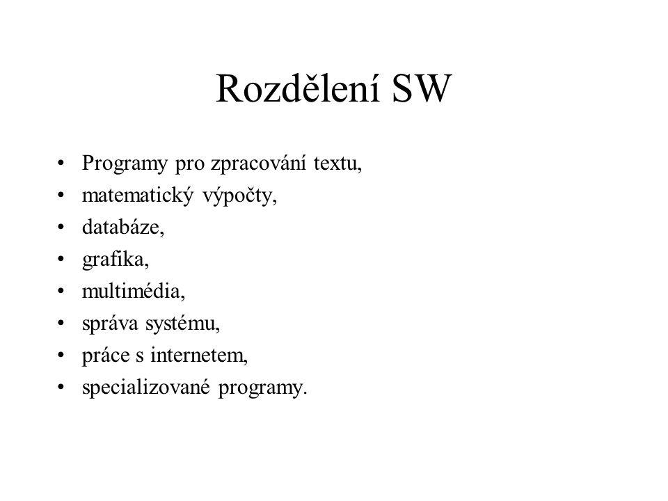 Rozdělení SW Programy pro zpracování textu, matematický výpočty, databáze, grafika, multimédia, správa systému, práce s internetem, specializované pro