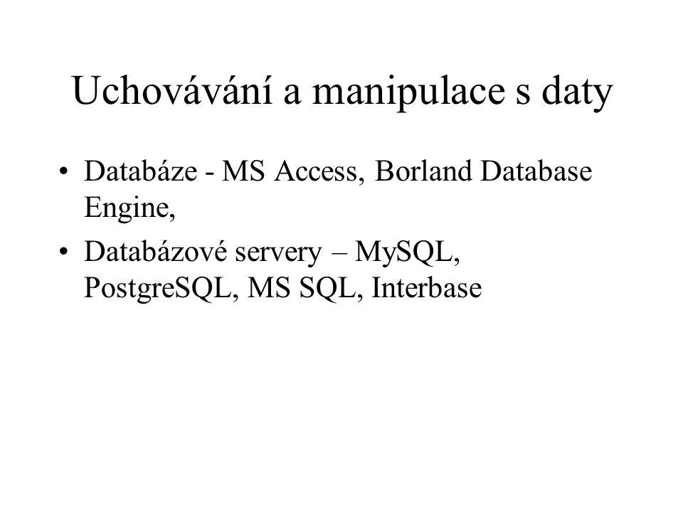 Uchovávání a manipulace s daty Databáze - MS Access, Borland Database Engine, Databázové servery – MySQL, PostgreSQL, MS SQL, Interbase
