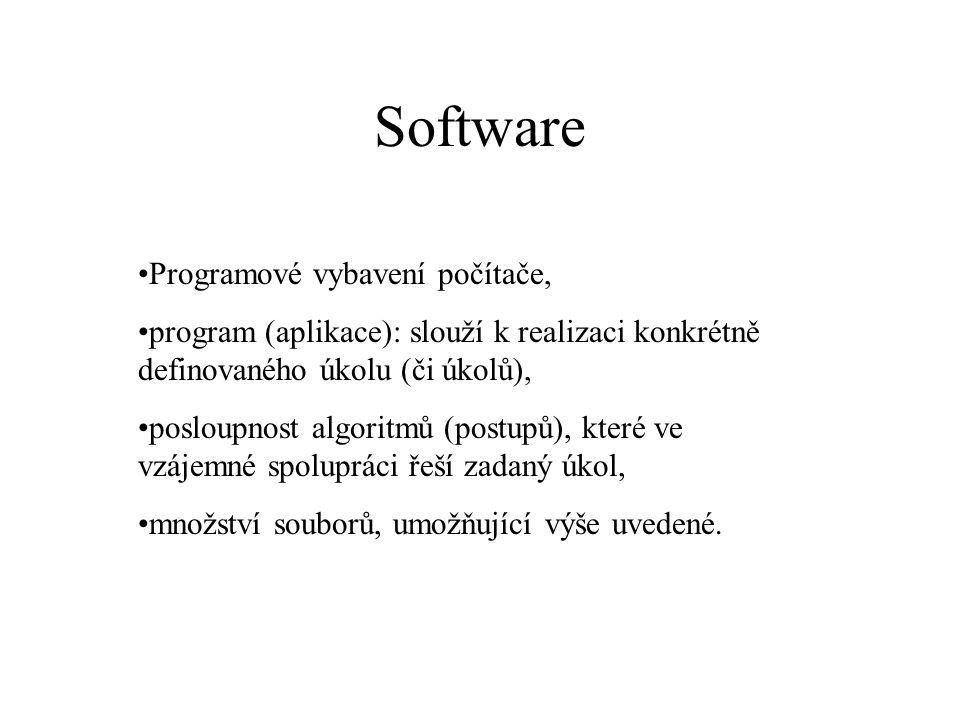 Software Programové vybavení počítače, program (aplikace): slouží k realizaci konkrétně definovaného úkolu (či úkolů), posloupnost algoritmů (postupů)