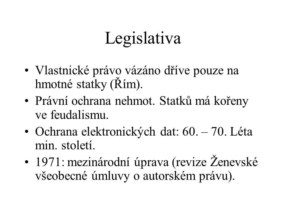 Legislativa Vlastnické právo vázáno dříve pouze na hmotné statky (Řím). Právní ochrana nehmot. Statků má kořeny ve feudalismu. Ochrana elektronických