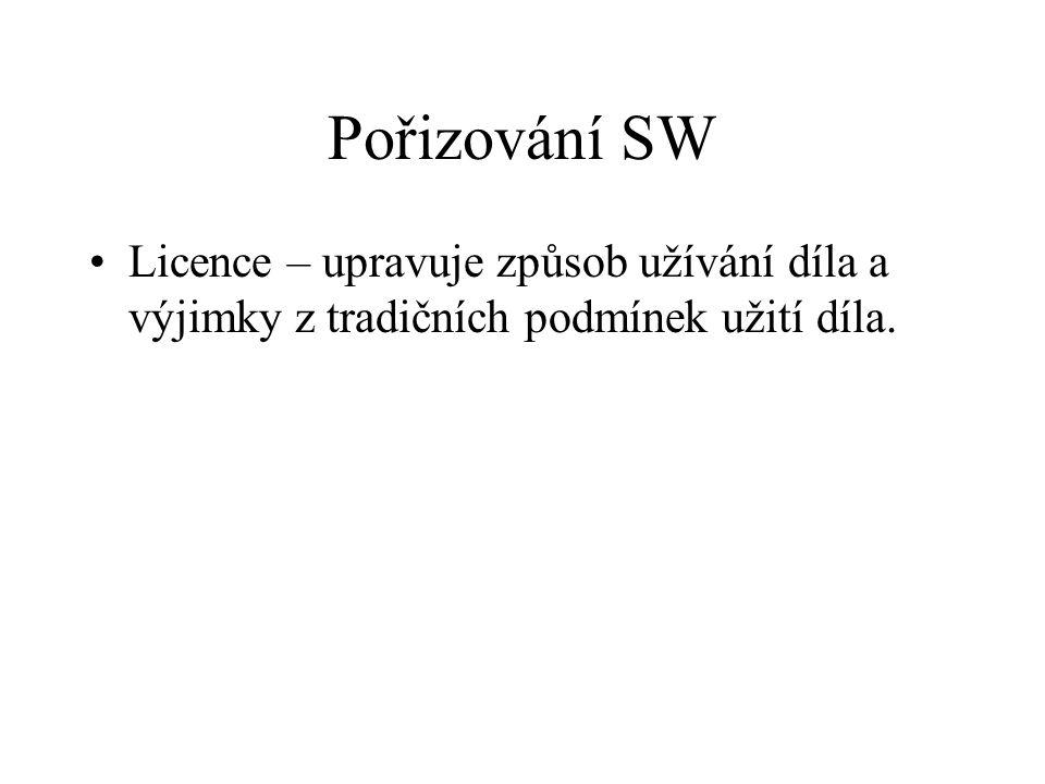 Pořizování SW Licence – upravuje způsob užívání díla a výjimky z tradičních podmínek užití díla.