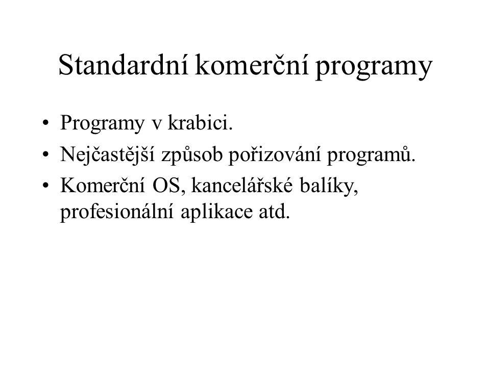 Standardní komerční programy Programy v krabici. Nejčastější způsob pořizování programů. Komerční OS, kancelářské balíky, profesionální aplikace atd.